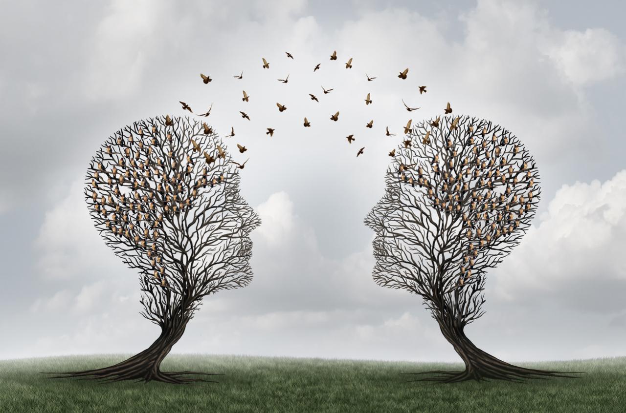 Symbolbild 2 Menschenköpfe aus Bäumen geschnitten mit Schmetterlingen verbunden