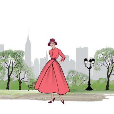 Gezeichnetes Bild mit einem Modell aus den 1950 Jahren Kleid in Rot
